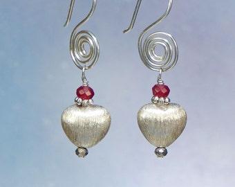 Spiral Dangle Heart and Genuine Garnet Tarnish Resistant Sterling Silver Argentum Earrings