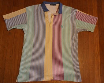 Vintage Nautica 90s Vertical Striped Teal Blue Yellow Pink Men's Polo (Size: XL)