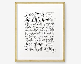 Love Grows Best in Little Houses Like This, Love Sign, Wedding Gift, Housewarming, Family Sign, New Home, Gallery Wall, Home Decor