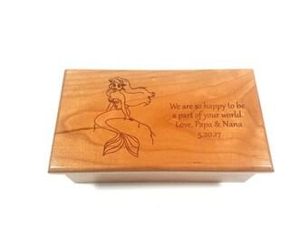 Personalized Mermaid Music Box, Childrens Music Box, Ariel Music Box, Part of Your World Music Box, Mermaid Music Box