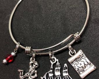 Pirate Theme Bangle Bracelet Stainless Steel