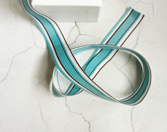 Wide Twill Stripe {2.5m} Ribbon {Blue Pink Brown} | French Stripe Ribbon Trim | Gift Ribbon | Sweet 16 Party | New Baby | Baby Boy Baptism