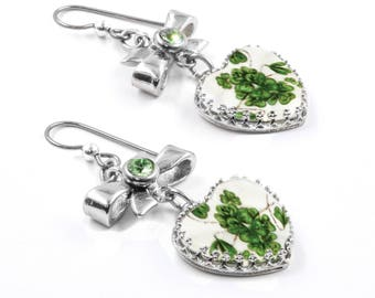 Silver Irish Earrings, Four Leaf Clovers in Hearts and Peridot Crystals handcrafted in stainless steel