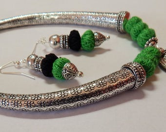 Hasli pendant necklace set-Cotton thread necklace-oxidized metal pendant/boho/tribal/silver tone statement necklace set
