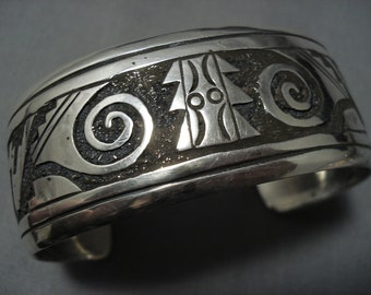 Detailed Detailed! Vintage Native American Navajo Sterling Silver Bracelet Old Cuff Jewelry