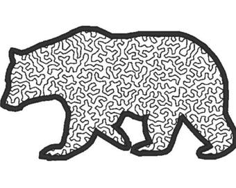 Applique black Bear Embroidery Design File - multiple formats - 3 variations, 3 sizes - instant download