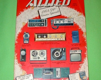 1964 Allied electronics Christmas gift catalog stereo radio speakers TV television record player turn table