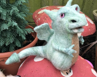 Needle felted green dragon ornament