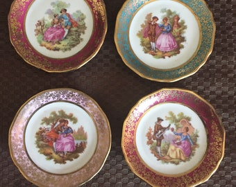 4 Vintage hand painted Limoges butter pats by Fragonard