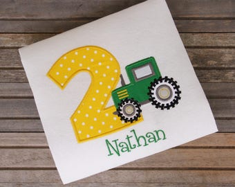 Embroidered Tractor Birthday Shirt, Kids Birthday T-shirts, Birthday Outfit