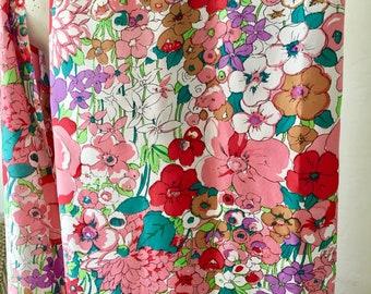Vintage Mid Century Pure Silk Fabric Silk Print Yardage Seda Pura Brazil Garden Flowers