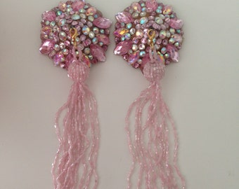 Pink tone rhinestoned pasties with removable tassel