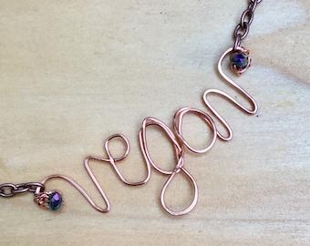 Copper Vegan Necklace, Vegan Jewelry, Purple Swarovski Crystal, Herbavore, Copper Necklace, Vegan Gift