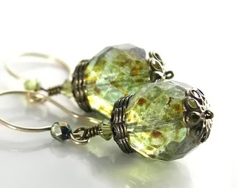 Moss Green Earrings 14K Gold Fill Hook Earrings Bohemian Glass Green Dangle Earrings Olive Green Earrings Green Bead Drop Earrings