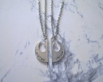 """TWO Couple Necklaces """"I love you, I know"""""""