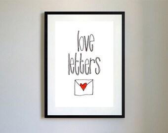Love Letters Illustration Print.