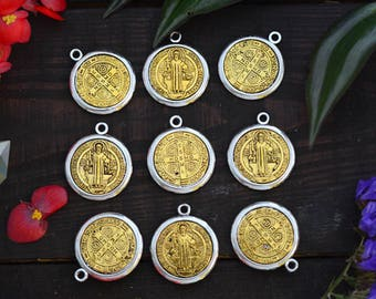 Saint Benedict Medal Pendant, 1-inch x 1 pc, Gold and Silver Charm / Religious Pendants, Devotional Medals, Religious Symbol, Jewelry Supply