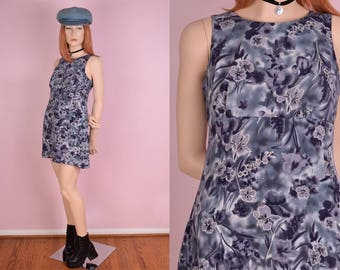 90s Floral Print Mini Dress/ US 7-8/ 1990s