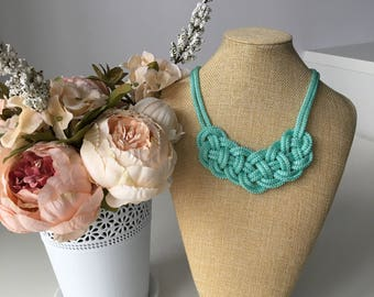 Mint rope knot necklace- Knotted Necklace- Nautical necklace- Bib necklace- Statement necklace- Rope jewelry- Gift for her- Spring necklace