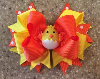 Cute Chick Orange and Yellow Easter Bow Fun Easter Bows