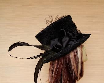 Black Top Hat, Straw Top Hat, Womens Top Hat,  Victorian Top Hat,  Kentucky Derby Top Hat, Mad Hatter,, Steampunk Top Hat