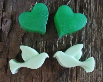 5 Tiny Doves and Hearts Shea Butter and Glycerin Soap Favors Wedding, Bridal Shower