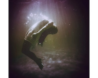 Depths Woman Submerged Underwater Photography Dreamy Surreal Girl Under Water Photo Print Ophelia Fantasy Girl Underwater Art Printed Photo