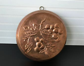 Vintage Large Copper Baking Mold, Brioche Cake Jelly Mousse Mold, Decorative Round Copper Mould, French Country Kitchen, Rustic Farmhouse