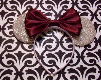 Elegant Satin Burgundy Bow Tie inspired Silver Sparkle Minnie Mouse Headband Ears