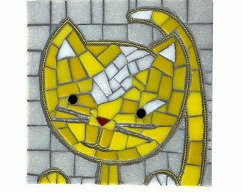 "Cat Mosaic, Yellow cat art, 6x6 mosaic cat with bead whiskers ""Lemon Kitty"""