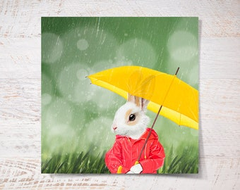 Mr Bunny print, bunny under the rain poster small rabbit print gift funny gift print portrait wall art wall decor kids children illustration