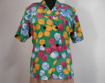 Vtg 1990s Ladies Double Breasted Style Blouse Short Sleeve Shirt Collar Button Up Multicolor Colorful Bubbles Design Fun Color Leisure Party