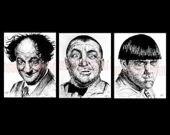 """Prints 8x10"""" - The Three Stooges - Larry Moe Curly Comedy Vintage Black and White Hollywood Funny Stupid Dumb 30s 40s 50s Portrait"""