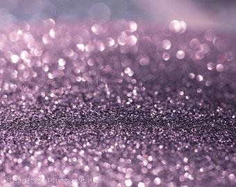 Lavender Purple Bokeh Violet Whimsical Print White Sparkle Glitter Dreamy Surreal,  Fine Art Print