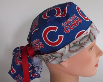 Chicago Cubs Baseball fabric Ponytail - Womens surgical scrub cap, scrub hat, Nurse surgical cap, F/122-4270 W