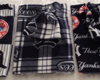 New York Yankees Fleece Receiving Blanket and Hat, 3 Designs