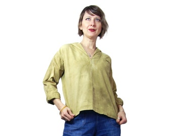 1920s Ladies Krell Middy Top in Olive Green Cotton Twill