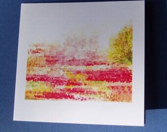 """Carte """"Joyeux coquelicots"""", carte avec son enveloppe."""