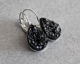 Black Drop Earrings, Black Teardrop Earrings, Black Earrings, Black Druzy Earrings, Black Dangle Earrings, Faux Druzy Earrings, Gift For Her