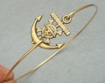 Skull Anchor Bangle Bracelet