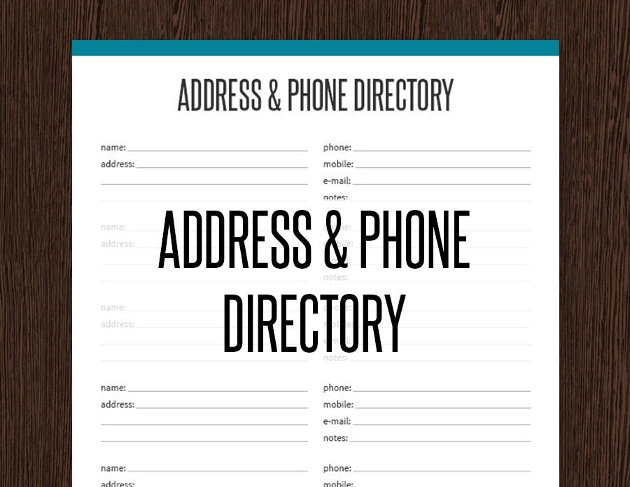 address book template pdf