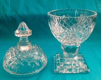 Badash Round Oxford European Crystal Covered Dish