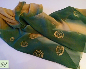 Dark Green Brown Silk Scarf Hand Painted, Chiffon scarf, Spring light scarf, Gift Wife Mom Girlfriend, Batik, Holiday Gift