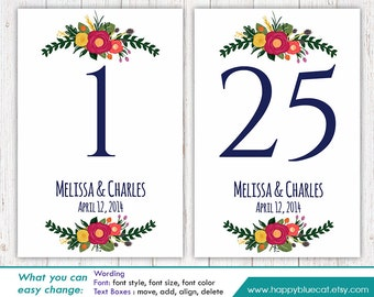 "DiY Printable Table Number Card Template - Instant Download - EDITABLE TEXT - Rustic Vintage Floral 4""x6"" - Microsoft® Word Format HBC4n/v4"