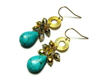 Turquoise Earrings, Blue Earrings, Teal Drops, Gold Vermeil Cluster Earrings