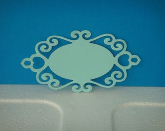 Cut for creating light blue paper tag