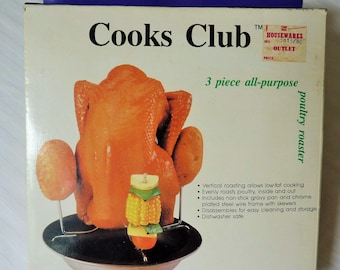 Vertical Chicken Roaster Cooks Club,  3 Piece All Purpose Poultry Roaster Vintage 80's