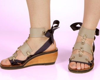 Taupe Vegan Leather Triple Strap Accessory for Mohop Interchangeable Sandals