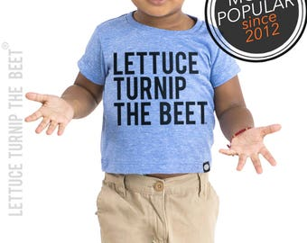 Lettuce turnip the beet ® trademark brand OFFICIAL SITE - blue heather kid tshirt with classic black logo - music, funny, vegetarian, dance