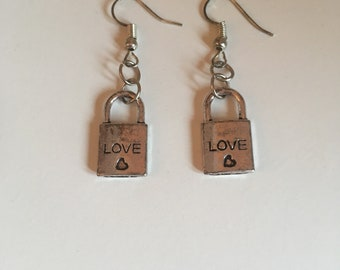"""love"" padlock earrings"